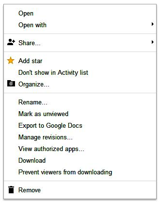 Google Drive - User Interface Context Menu